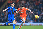 Ian Henderson looks to win the ball during the EFL Sky Bet League 1 match between Rochdale and Blackpool at Spotland, Rochdale, England on 26 December 2018.