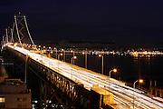 The San Francisco Bay Bridge at night