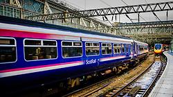 ScotRail passenger train arriving at Central Station in Glasgow, Scotland<br /> <br /> (c) Andrew Wilson | Edinburgh Elite media