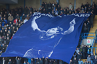 Football - 2016 / 2017 Premier League - Chelsea vs. WBA<br /> <br /> A giant flag depicting Frank Lampard is drapped across the shed end at Stamford Bridge.<br /> <br /> COLORSPORT/DANIEL BEARHAM