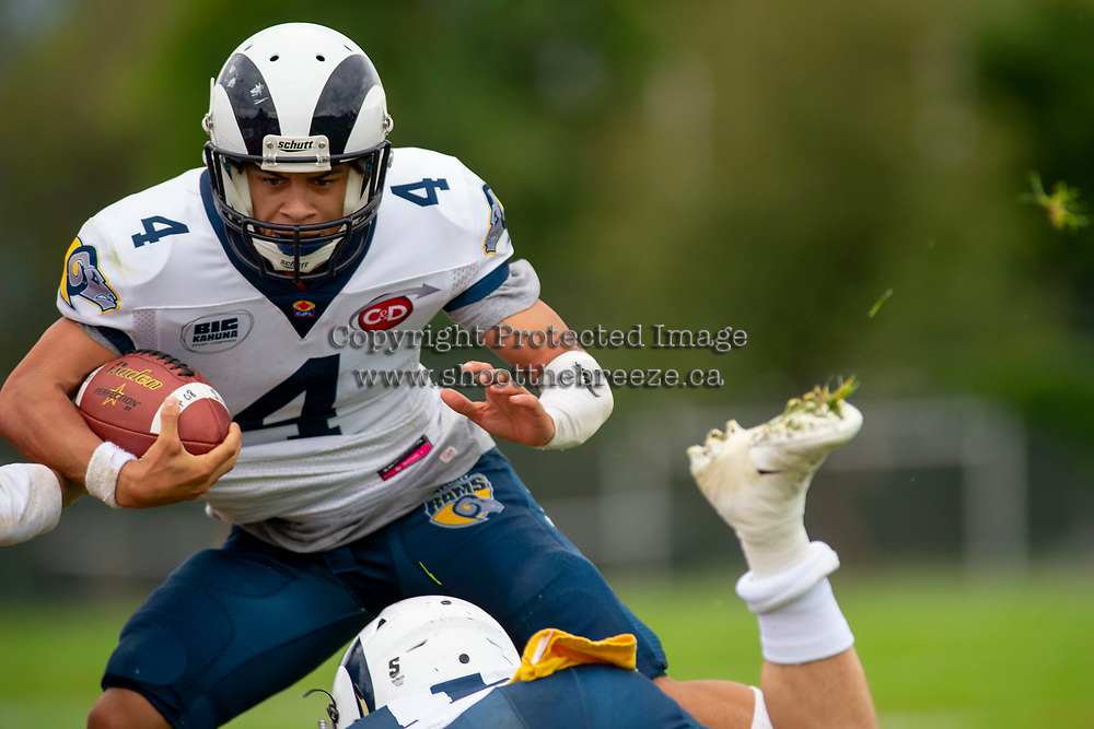 KELOWNA, BC - SEPTEMBER 8:   Sebastian REID #4 of Langley Rams runs with the ball against the Okanagan Sun at the Apple Bowl on September 8, 2019 in Kelowna, Canada. (Photo by Marissa Baecker/Shoot the Breeze)