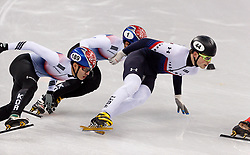 February 17, 2018 - Gangneung, South Korea - Short track skaters Hyojun Lim of Korea, Yira Seo of Korea and John-Henry Krueger of the United States compete in the Men's Short Track Speed Skating 1000M finals at the PyeongChang 2018 Winter Olympic Games at Gangneung Ice Arena on Saturday February 17, 2018. (Credit Image: © Paul Kitagaki Jr. via ZUMA Wire)