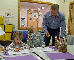 Pictured: Willie Rennie joins Ella and Alana (both 4 years old) doing some colouring in.<br /> <br /> Scottish Liberal Democrat Leader Willie Rennie visited the Lauriston nursery in Dunfermline to promote the party's new policy to provide money for free childcare for children from nine months in Scotland and invest in Scottish schools and nurseries.<br /> <br /> © Dave Johnston / EEm