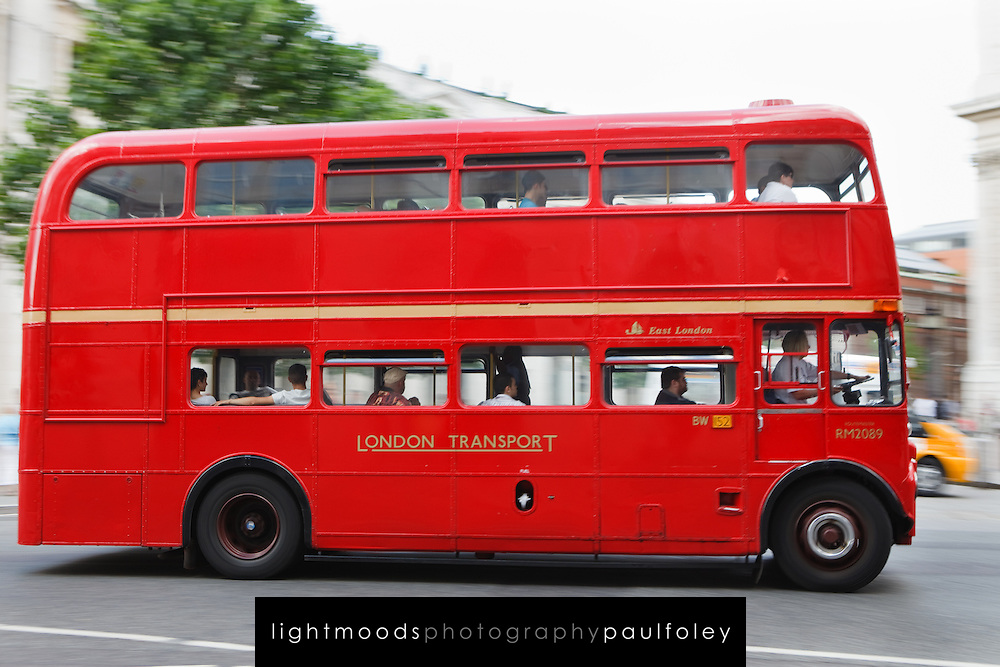 Traditional London Bus near St pauls Cathedral