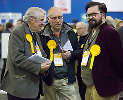 Scottish Parliament Election 2016 Royal Highland Centre Ingliston Edinburgh 05 May 2016; Scottish Liberal Democrat activists discuss their thoughts on party success during the Scottish Parliament Election 2016, Royal Highland Centre, Ingliston Edinburgh.<br /> <br /> (c) Chris McCluskie | Edinburgh Elite media