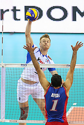 06.09.2014, Krakow Arena, Krakau, POL, FIVB WM, Puerto Rico vs Italien, Gruppe D, im Bild Ivan Zaytsev (ITA), Jose Rivera (PUR) // during the FIVB Volleyball Men's World Championships Pool D Match beween Puerto Rico and Italy at the Krakow Arena in Krakau, Poland on 2014/09/06. EXPA Pictures © 2014, PhotoCredit: EXPA/ Newspix/ Tomasz Jastrzebowski<br /> <br /> *****ATTENTION - for AUT, SLO, CRO, SRB, BIH, MAZ, TUR, SUI, SWE only*****