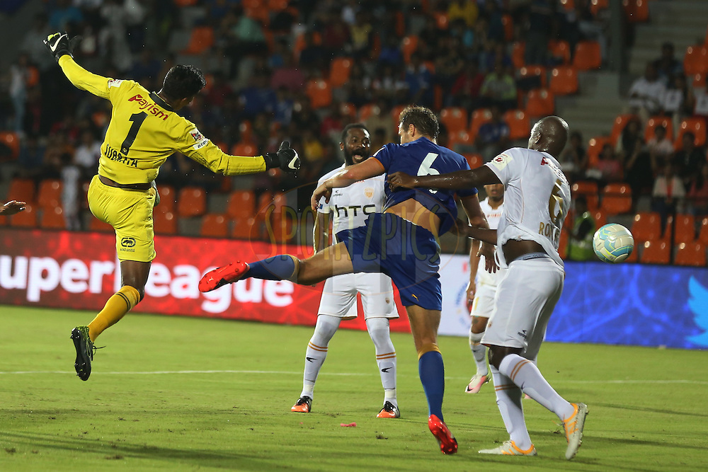 NorthEast United FC goalkeeper Subrata Paul during match 7 of the Indian Super League (ISL) season 3 between Mumbai City FC and NorthEast United FC held at the Mumbai Football Arena in Mumbai, India on the 7th October 2016.<br /> <br /> Photo by Faheem Hussain / ISL/ SPORTZPICS