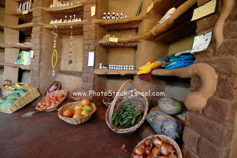 Israel, Ecological farm, The farms organic produce on sale House built from mud