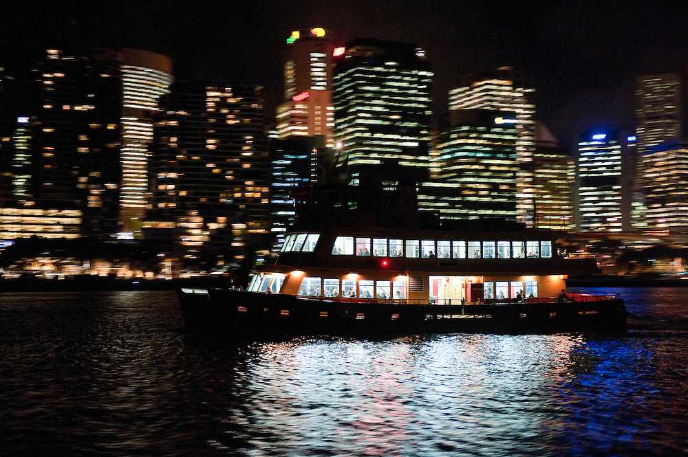 Commuters travel home from work by ferry, Sydney, Australia.