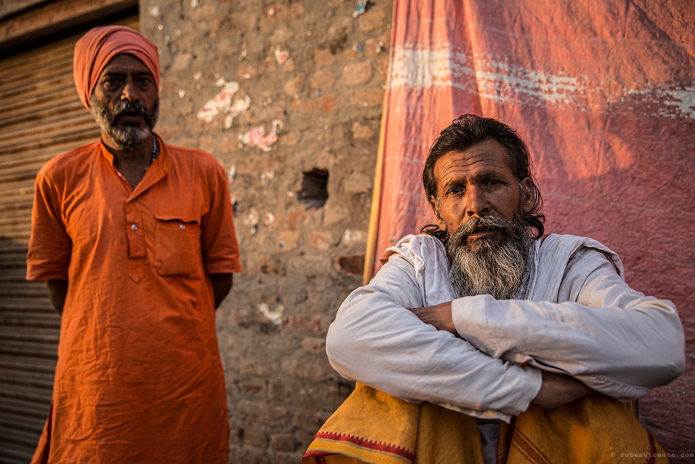 Men on the streets of Vrindavan. India