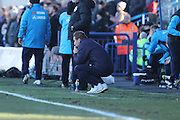 AFC Wimbledon manager Neal Ardley looks  dejected his team are 2-0 down at halftime during the The FA Cup match between Curzon Ashton and AFC Wimbledon at Tameside Stadium, Ashton Under Lyne, United Kingdom on 4 December 2016. Photo by Stuart Butcher.
