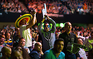 Darts fans at the Betway Premier League Darts at the Brighton Centre in Brighton, East Sussex. PRESS ASSOCIATION Photo. Picture date: Thursday 15th May, 2014. Photo credit should read: Chris Ison/PA Wire.