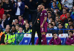 Manchester City manager Josep Guardiola talks with Kyle Walker of Manchester City during a break in play. - Mandatory by-line: Alex James/JMP - 30/09/2017 - FOOTBALL - Stamford Bridge - London, England - Chelsea v Manchester City - Premier League