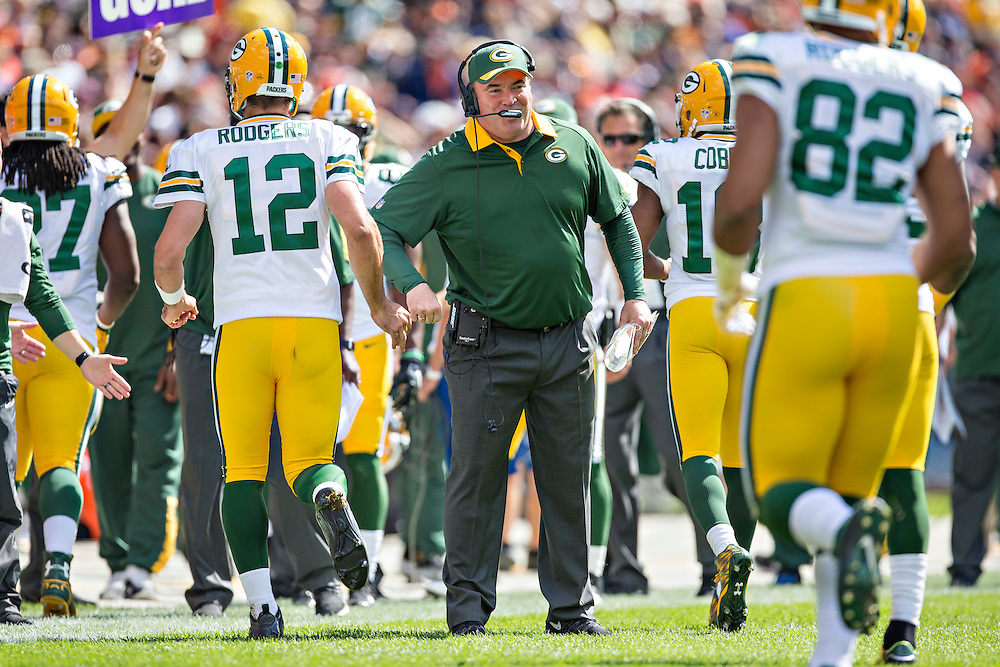CHICAGO, IL - SEPTEMBER 13:  Head Coach Mike McCarthy of the Green Bay Packers claps as his players come off the field during a game against the Chicago Bears at Soldier Field on September 13, 2015 in Chicago, Illinois.  The Packers defeated the Bears 31-23.  (Photo by Wesley Hitt/Getty Images) *** Local Caption *** Mike McCarthy