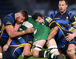 Worcester Warriors Lock Donncha O'Callaghan and Worcester Warriors Lock Darren Barry tackle Rob Mccusker No 8 for London Irish  - Mandatory by-line: Joe Meredith/JMP - 26/03/2016 - RUGBY - Sixways Stadium - Worcester, England - Worcester Warriors v London Irish - Aviva Premiership