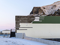 A repaired wall in Vestmannaeyjar islands, Iceland