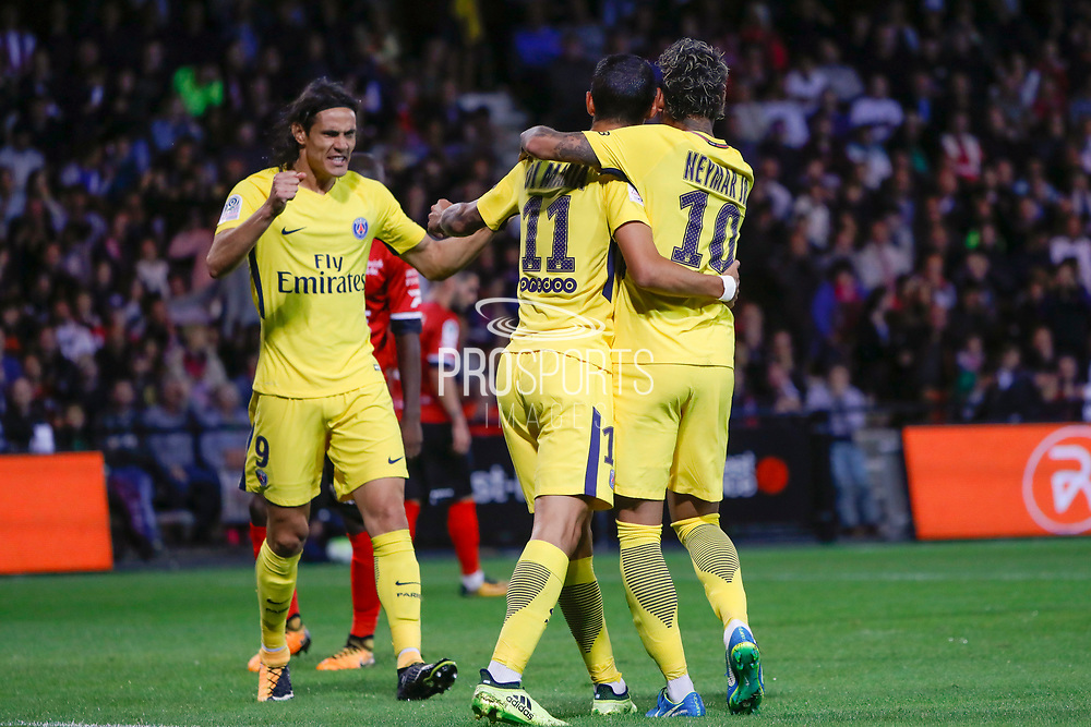 Edinson Roberto Paulo Cavani Gomez (psg) (El Matador) (El Botija) (Florestan) celebrated with Angel Di Maria (psg) and Neymar da Silva Santos Junior - Neymar Jr (PSG) the goal scored by Jordan IKOKO (En Avant De Guingamp) against it team during the French championship L1 football match between EA Guingamp v Paris Saint-Germain, on August 13, 2017 at the Roudourou stadium in Guingamp, France - Photo Stephane Allaman / ProSportsImages / DPPI