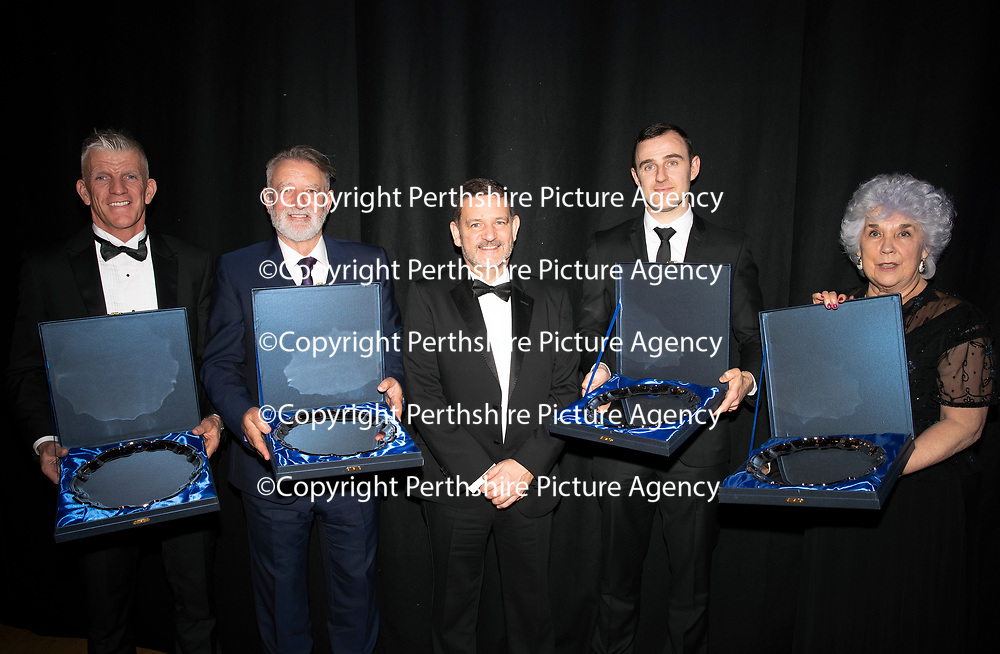 St Johnstone FC Hall of Fame Dinner, Perth Concert Hall….23.03.19<br />Chairman Steve Brown pictured with the St Johnstone Hall of Fame inductees, from left, Jim Weir, Jim Morton, Dave Mackay and Sandra McCarry (widow of Bill 'Buck' McCarry)<br />Copyright Perthshire Picture Agency<br />Tel: 01738 623350  Mobile: 07990 594431
