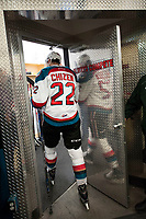 KELOWNA, CANADA - MARCH 7: Braydyn Chizen #22 of the Kelowna Rockets enters the dressing room after second period against the Victoria Royals on March 7, 2017 at Prospera Place in Kelowna, British Columbia, Canada.  (Photo by Marissa Baecker/Shoot the Breeze)  *** Local Caption ***