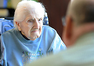 Chaplain Blaik Westhoff (cq) chats with Ruth Beer (left), 94, during Spirit Alive, a religious service for people with dementia that incorporates Montessori principles Wednesday, June 28, 2017 at Meadow Glen Personal Care in Richlandtown, Pennsylvania. (WILLIAM THOMAS CAIN / For The Philadelphia Inquirer)