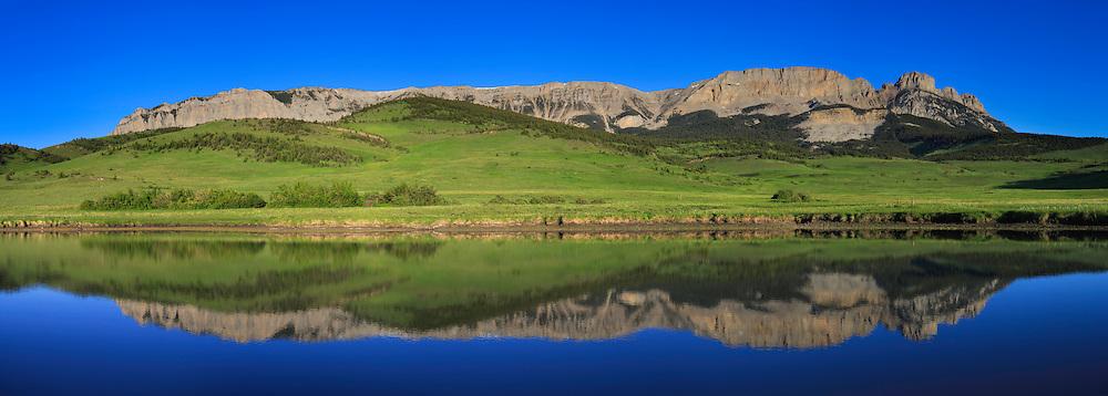 Panorama of Sawtooth Mountain, Rocky Mountain Front, Montana.