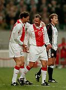 Photo: Gerrit de Heus. Amsterdam. 06/04/99. Johan Cruijff(M) and Marco van Basten celebrating a goal. Cruijff played a match with and against former Ajax-players. Keywords: Cruyff