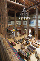 Interior of historic Glacier Park Lodge, East Glacier Montana