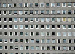 Detail of many windows in office block in Hamburg Germany