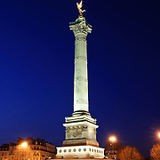 Colonne de Juillet (July Column) at the Place de la Bastille, where the Bastille Prison once stood until being stormed and destroyed during the French Revolution. The July Column stands in the center of the square as a monument to the Revolution.