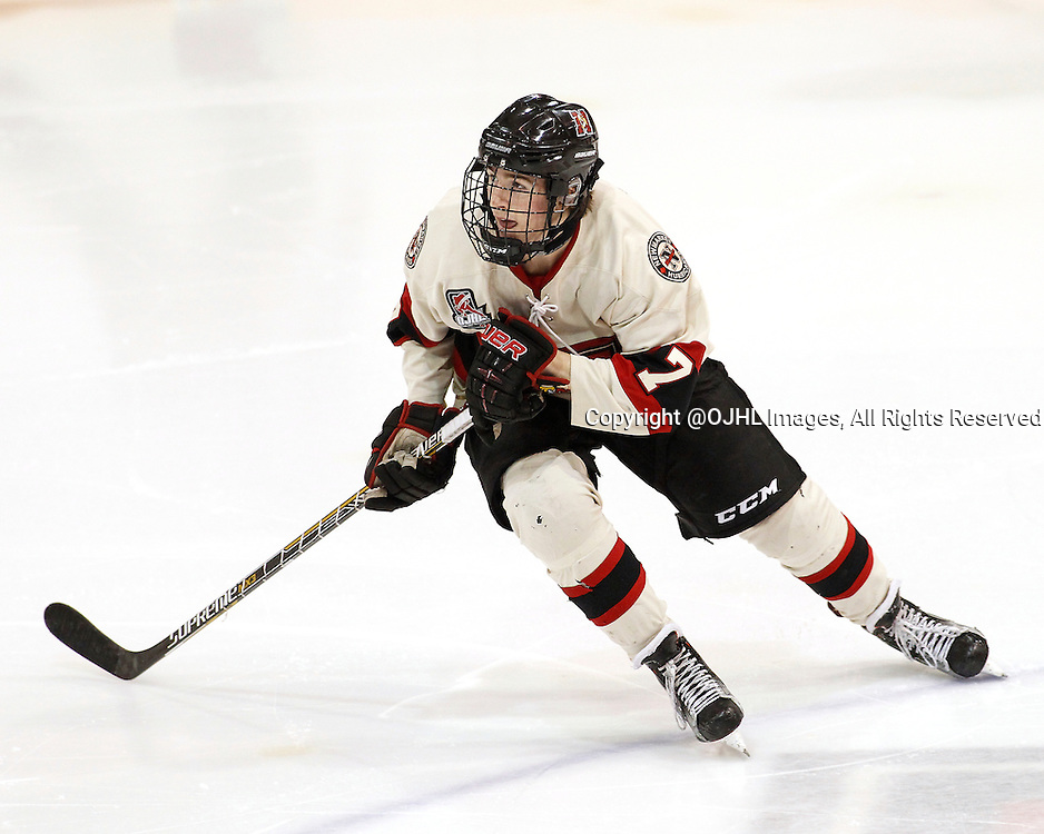 NEWMARKET, ON - Dec 3, 2015 : Ontario Junior Hockey League game action between Milton and Newmarket, Max Routledge #7 of the Newmarket Hurricanes follows the play during the second period.<br /> (Photo by Brian Watts / OJHL Images)