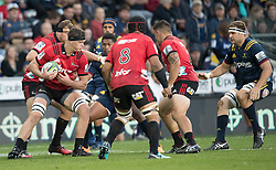 Crusaders' Luke Romano, left, takes the ball forward against the Highlanders in the Super Rugby match, Forsyth Barr Stadium, Dunedin, New Zealand, Saturday, March 17, 2018. Credit:SNPA / Adam Binns ** NO ARCHIVING**