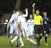 Referee Don Robertson shows a second yellow card to Raith Rovers' Jason Thomson (2) - Raith Rovers v Dundee,  SPFL Championship at Starks Park<br /> <br />  - &copy; David Young - www.davidyoungphoto.co.uk - email: davidyoungphoto@gmail.com