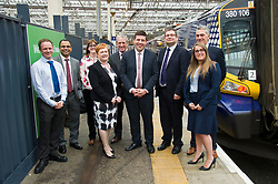 Pictured: Liam Casey, Karampal Sidnu, Jacquelyn Bell (all Scotrail), Angela Cox, principal of Borders College, Jim Gibson (Scotrail) Jamie Hepburn, Andy Witty, Director Collesges Scotland, Michael Cross, Scottish Funding Council and Michelle Murray (Scotrail)<br /> Minister for Employability and Training Jamie Hepburn launched a &pound;10 million Flexible Workforce Development Fund which will partner industry with colleges to deliver in-work skills training during a visit to Waverlety Station in Edinburgh today. Mr Hepburn met to meet ScotRail staff who have undertaken in-work training to further their careers along with represenatatives from the Further Education sector.<br /> <br /> <br /> Ger Harley | EEm 7 September 2017