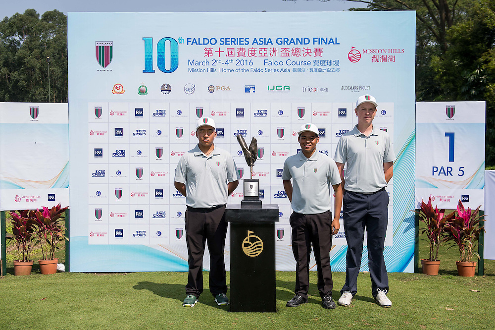 Christer Rem Sibug of Philippines, Liu Zi Wei of China, Jake Meenhorst of New Zealand poses for a picture with the trophy during day one of the 10th Faldo Series Asia Grand Final at Faldo course in Shenzhen, China. Photo by Xaume Olleros.
