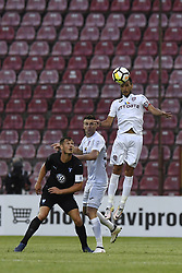 July 24, 2018 - Cluj-Napoca, Romania - CFR Cluj's Camora and Andrei Muresan in action against Malmö FF's Markus Rosenberg during CFR 1907 Cluj v Malmö FF UEFA Champions League, Second Qualifying Round, Stadium Dr. Constantin Radulescu, Cluj-Napoca, Romania, 24 July 2018. (Credit Image: © Alex Nicodim/NurPhoto via ZUMA Press)