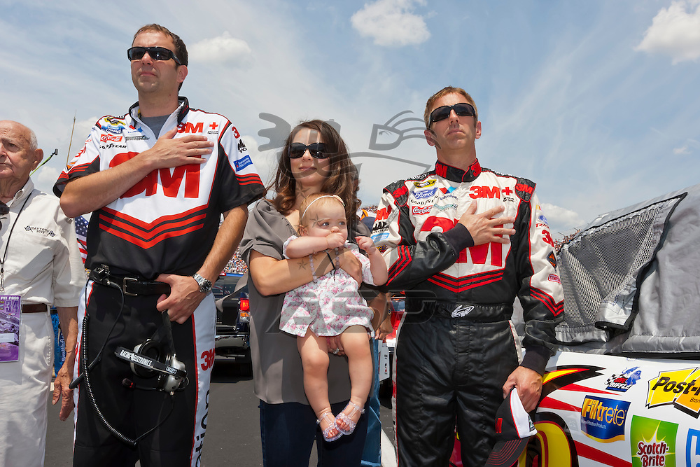 DOVER, DE - JUN 03, 2012:  Greg Biffle (16) and family wait for the start of the FedEx 400 Benefiting Autism Speaks at the Dover International Speedway in Dover, DE.