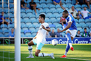 Peterborough no 10 Leo Da Silva Lopes gets in a shot during the Pre-Season Friendly match between Peterborough United and West Ham United at London Road, Peterborough, England on 19 July 2016. Photo by Nigel Cole.