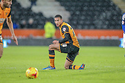 Isaac Hayden (on loan from Arsenal) (Hull City) during the Sky Bet Championship match between Hull City and Cardiff City at the KC Stadium, Kingston upon Hull, England on 13 January 2016. Photo by Mark P Doherty.