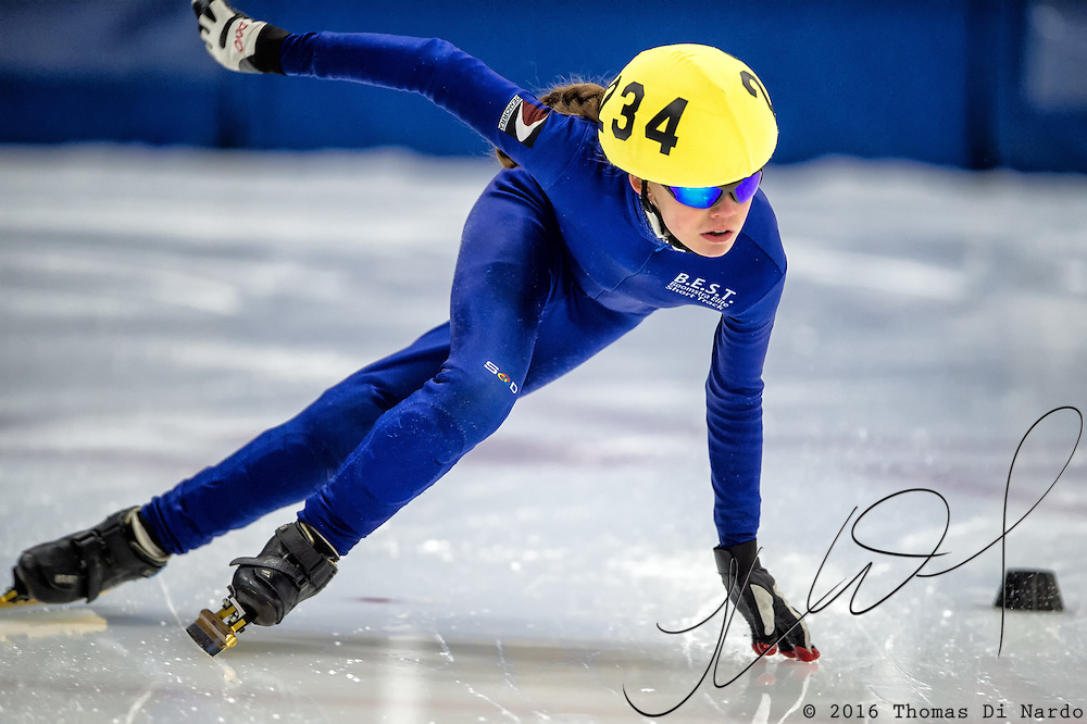 March 19, 2016 - Verona, WI - Renee Miller, skater number 234 competes in US Speedskating Short Track Age Group Nationals and AmCup Final held at the Verona Ice Arena.
