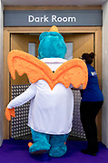 UNITED KINGDOM, London: 22 January 2019. A character in costume is taken into the dressing room at The Toy Fair 2019 being held at Olympia London this morning. The Toy Fair, which runs between 22nd-24th of January, is the UK's largest toy trade event with over 250 exhibiting companies launching thousands of new products. <br /> Rick Findler / Story Picture Agency
