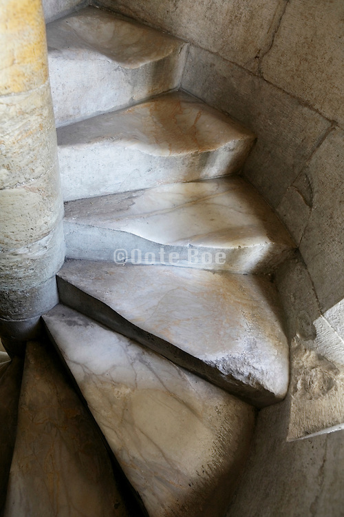 staircase carved steps at the Leaning Tower in Pisa Italy