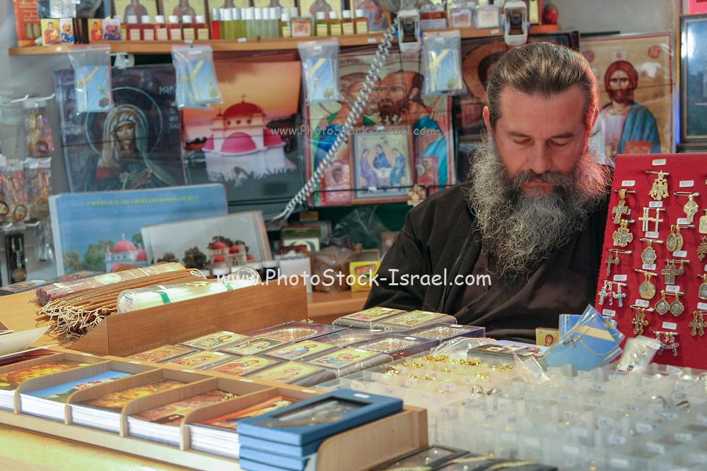 Israel Capernahum sea of galilee, The souvenir shop in the Greek Orthodox Church of the Twelve Apostles