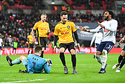 Newport County Goalkeeper Joe Day (1) collects the ball during the The FA Cup 4th round replay match between Tottenham Hotspur and Newport County at Wembley Stadium, London, England on 7 February 2018. Picture by Stephen Wright.