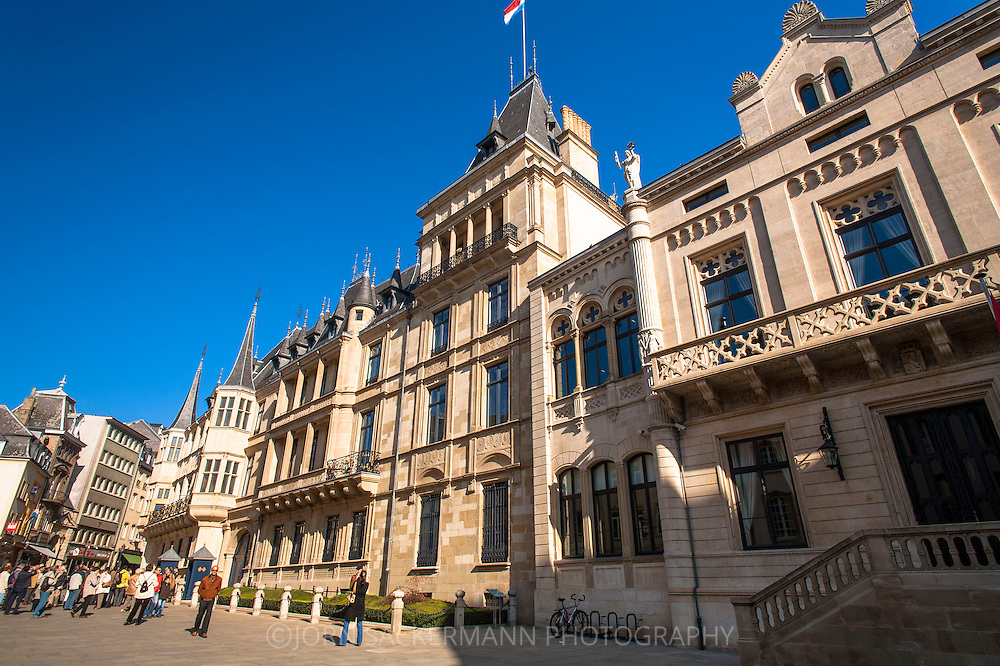 LUX, Luxembourg, city of Luxembourg, palace of the Grand Duke, Palais Grand-Ducal at the Rue du Marche-aux-Herbes.<br /> <br /> LUX, Luxemburg, Stadt Luxemburg, Grossherzoglicher Palast, Palais Grand-Ducal in der Rue du Marche-aux-Herbes
