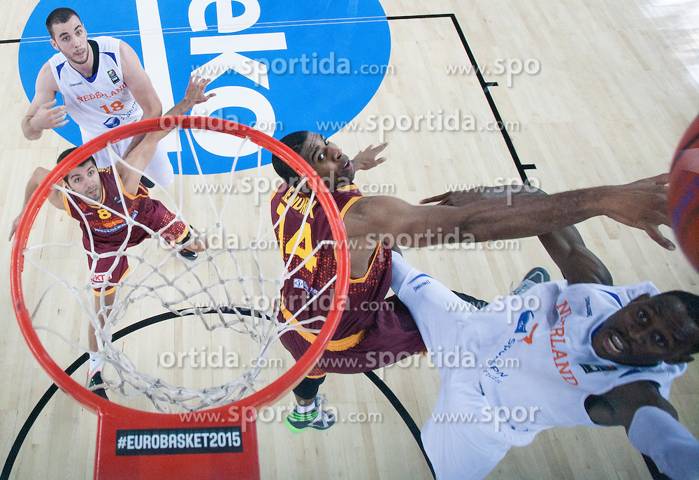 Richard Hendriks of Macedonia vs Charlon Kloof of Netherlands during basketball match between Netherlands and Macedonia at Day 2 in Group C of FIBA Europe Eurobasket 2015, on September 6, 2015, in Arena Zagreb, Croatia. Photo by Vid Ponikvar / Sportida