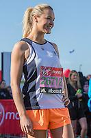 Amy Guy 'Siren Gladiator' in the celebrity area ahead of the Gren Start at The Virgin Money London Marathon 2014 on Sundy 13 April 2014<br /> Photo: Neil Turner/Virgin Money London Marathon<br /> media@london-marathon.co.uk