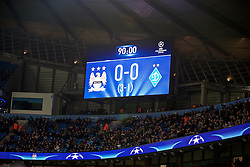 MANCHESTER, ENGLAND - Tuesday, March 15, 2016: Manchester City's scoreboard records the dull goal-less draw against FC Dynamo Kyiv during the UEFA Champions League Round of 16 2nd Leg match at the City of Manchester Stadium. (Pic by David Rawcliffe/Propaganda)