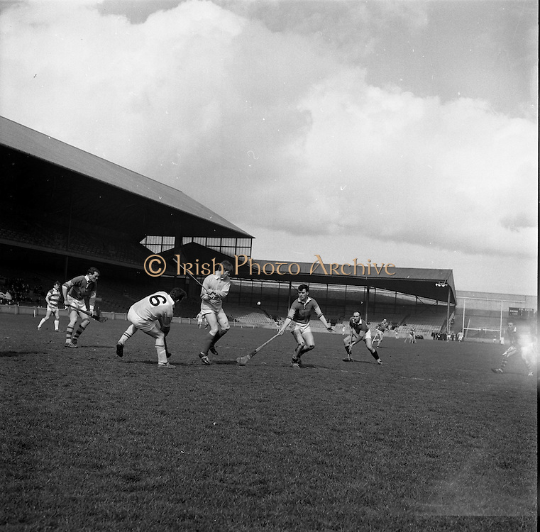 02/04/1967<br /> 04/02/1967<br /> 2 April 1967<br /> National Hurling League Semi-Final: Antrim v Kerry at Croke Park, Dublin.<br /> Kerry forward, J. Barry (right), and Antrim back, E. Gallagher, in a duel for possession.