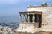 Caryatid porch, the Erectheum, Acropolis, Athens. Designer Mnesicles. 5th century BC.