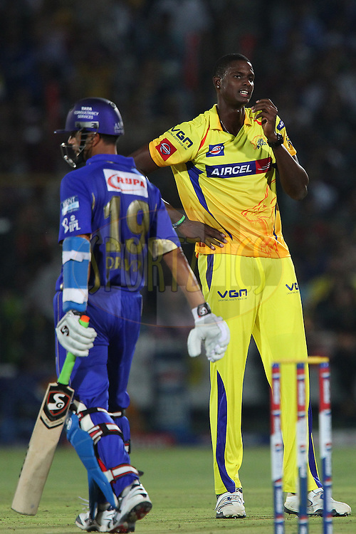 Jason Holder reacts after bowling  during match 61 of the Pepsi Indian Premier League ( IPL) 2013  between The Rajasthan Royals and the Chennai SUperkings held at the Sawai Mansingh Stadium in Jaipur on the 12th May 2013..Photo by Ron Gaunt-IPL-SPORTZPICS ..Use of this image is subject to the terms and conditions as outlined by the BCCI. These terms can be found by following this link:..http://www.sportzpics.co.za/image/I0000SoRagM2cIEc